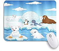 ECOMAOMI 可愛いマウスパッド 北極圏の動物の画像ホッキョクグマアザラシペンギンオオカミクジラ芸術作品 滑り止めゴムバッキングマウスパッドノートブックコンピュータマウスマット