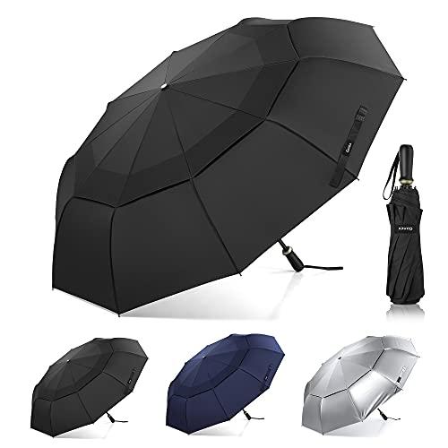Gonex faltbarer Golfschirm, 10-Rippen-großer regenschirm sturmfest und Doppelmarkise, kompakter 54-Zoll-Schirm, belüfteter und regendichter Sport-, Geschäfts- und Reiseschirm, Schwarze