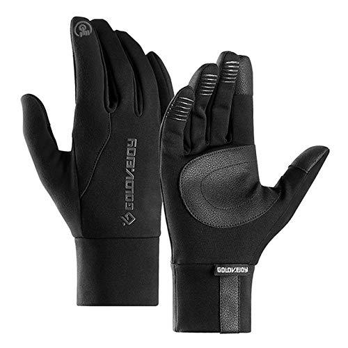 KXBMDO Outdoor-Sport Warme Handschuhe Regenfeste Unisex-Touchscreen-Handschuhe Winddichte Skihandschuhe Mit Warmfutter Für Fahrradfahrer, Schwarz, XL