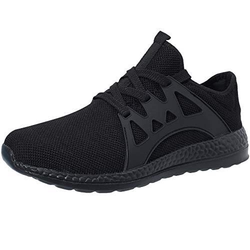 VVQI Laufschuhe Herren Damen Sneaker Sportschuhe Turnschuhe Mode Leichtgewichts Freizeit Atmungsaktive Fitness Schuhe 44.5 EU 004 2 Schwarz