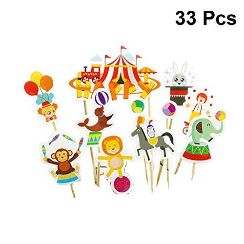 Amosfun Circo Animal Cake Toppers Circo Cupcake Topper Circo con Temas de Fiesta para niños Cumpleaños Baby Shower Carnival Decoraciones para Fiestas 33PCS