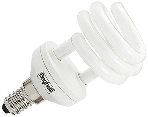 Beghelli Mini Compact Spiral T2 20 W E27 à Warm White fluorescent bulb – Fluorescent bulbs (20 W, Spiral, E27, 1250 lm, Warm White, 12000 H)