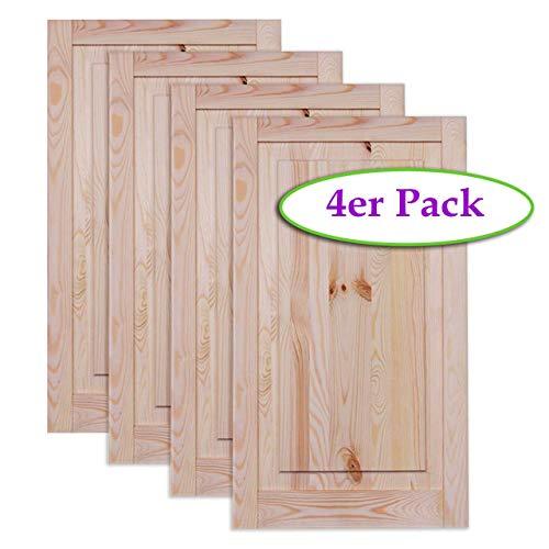 Kassettentür Holztür natur 69 x 39,4 cm Schranktür Raumteiler Schiebetür für Regale, Schränke, Möbel | Kiefer Holz unbehandelt | Vierer Paket 4-er Pack