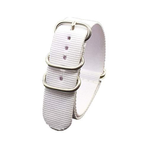 MGHN Correa de Reloj de Nailon Correa de Colores del Arco Iris 18 mm 20 mm 22 mm 24 mm Correa de Tela de Nylon Correa de Hebilla de cinturón (Band Color : White, Band Width : 18mm)