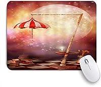 NIESIKKLAマウスパッド おとぎ話の月のファンタジー夜の傘の本のティーポットの輝く星 ゲーミング オフィス最適 高級感 おしゃれ 防水 耐久性が良い 滑り止めゴム底 ゲーミングなど適用 用ノートブックコンピュータマウスマット