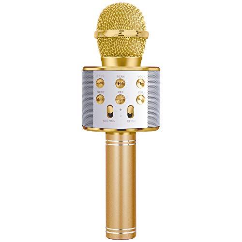 SUNTOY Karaoke Microphone pour Filles, Bluetooth Microphone Haut-Parleur Fille Cadeau d'anniversaire pour 6-9 Ans Fille sans Fil Microphone Jouet pour Teen Boy Or MIC