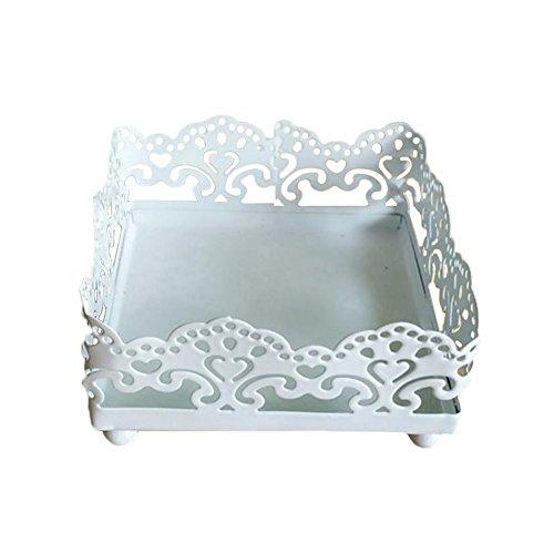 Outflower Présentoir en Dentelle de Fer Présentoir de Vase en Verre Gâteau Dessert Fer Forgé Dentelle Blanc Présentoir Accessoires de Table de Mariage(Square)