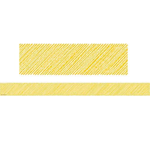 Teacher Created Resources 3480 Yellow Scribble Straight Border Trim Photo #2