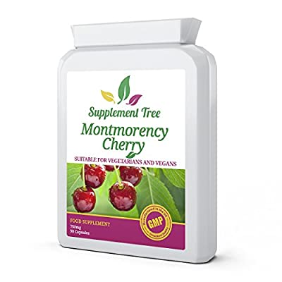 Montmorency Cherry 750mg 90 Capsules - High Strength Pure Freeze Dried - UK Manufactured to GMP Guaranteed Quality by Supplement Tree