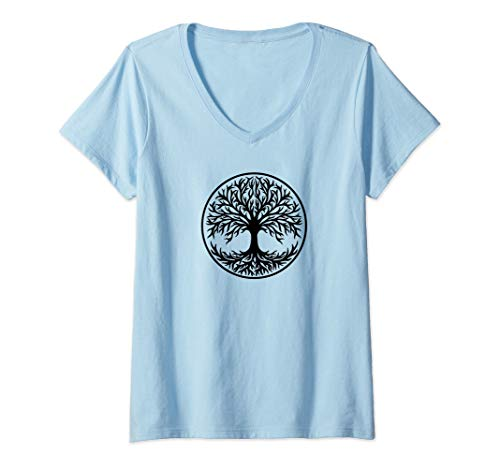 Womens Yggdrasil, Celtic, Tree, Life, Norse, Mythology, Nature, V-Neck T-Shirt