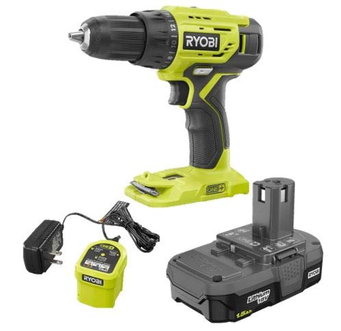 RYOBI 18-Volt ONE+ Lithium-Ion Cordless 1/2 in. P215 Drill/Driver Kit with 1.5 Ah Battery and Newest P119 Charger (No retail Packaging, Bulk packaging)- Choose Combo (1, Drill Only)