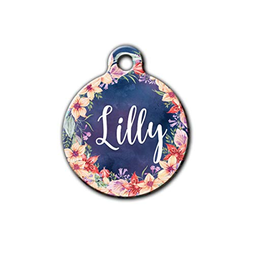 Summer Pet id tag, Floral pet id tag, Cute pet id tag, Pet tag for collar, Personalized aluminum pet id tag