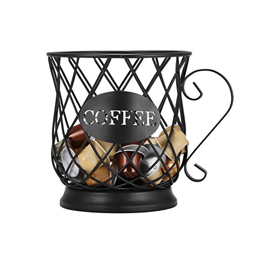CAMPSLE Coffee Pod Holder, Mug Shape Coffee Capsule Container, Vintage K Cup Storage Organizer, Universal Coffee Creamer Storage Basket for Home Counter Coffee Bar Decor, Black