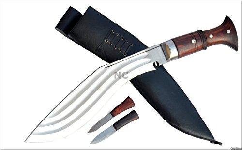 Echtes Gurkha Kukri Messer - 30.50cm Messer 3 Chhira (3 volleren) Kukri - Semi-poliertem Stahl, dunklen Palisander voller Zapfen, schwarzer Lederscheide. Gesamtlänge 47cm mit Griff. handgemachten in Nepal von GK&CO. Kukri Haus