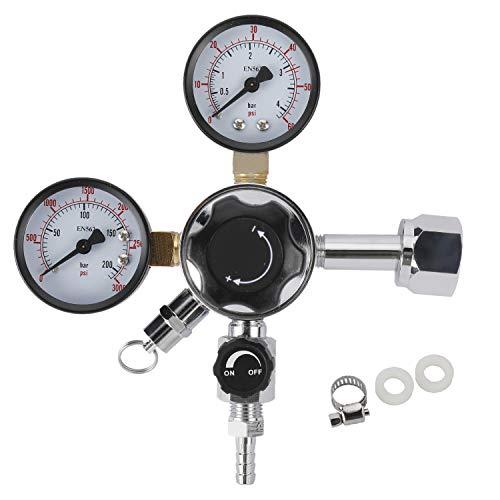 Dual Gauge Co2 Draft Beer Dispensing Regulator, 0-60 PSI Low Pressure, 0-3000 PSI High Pressure Gauge, CGA-320 Kegerator Regulator with Safety Pressure Relief Valve