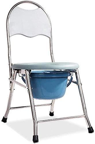 Klappbarer Toilettenstuhl aus Stahl, mit Rollen, verstellbare Rückenlehne, strapazierfähig, bariatrischer Toilettenstuhl