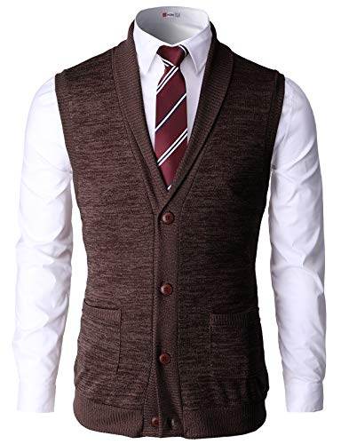H2H Men Casual Soft Lightweight Shawl Collar Knitted Slim Fit Vests Darkbrown US S/Asia M (CMOV034)