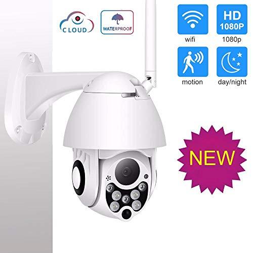 Cámara IP Domo PTZ para Exteriores WiFi inalámbrico 1080P, monitoreo de Seguridad infrarroja con Zoom 4X, con Alarma de detección de Movimiento/Acceso Remoto/Audio bidireccional-1080P_12V2A_128GB