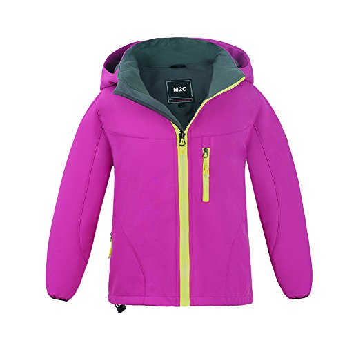 M2C Girls Hooded Waterproof Windbreaker Fleece Lined Softshell Jacket 6/7 Rose