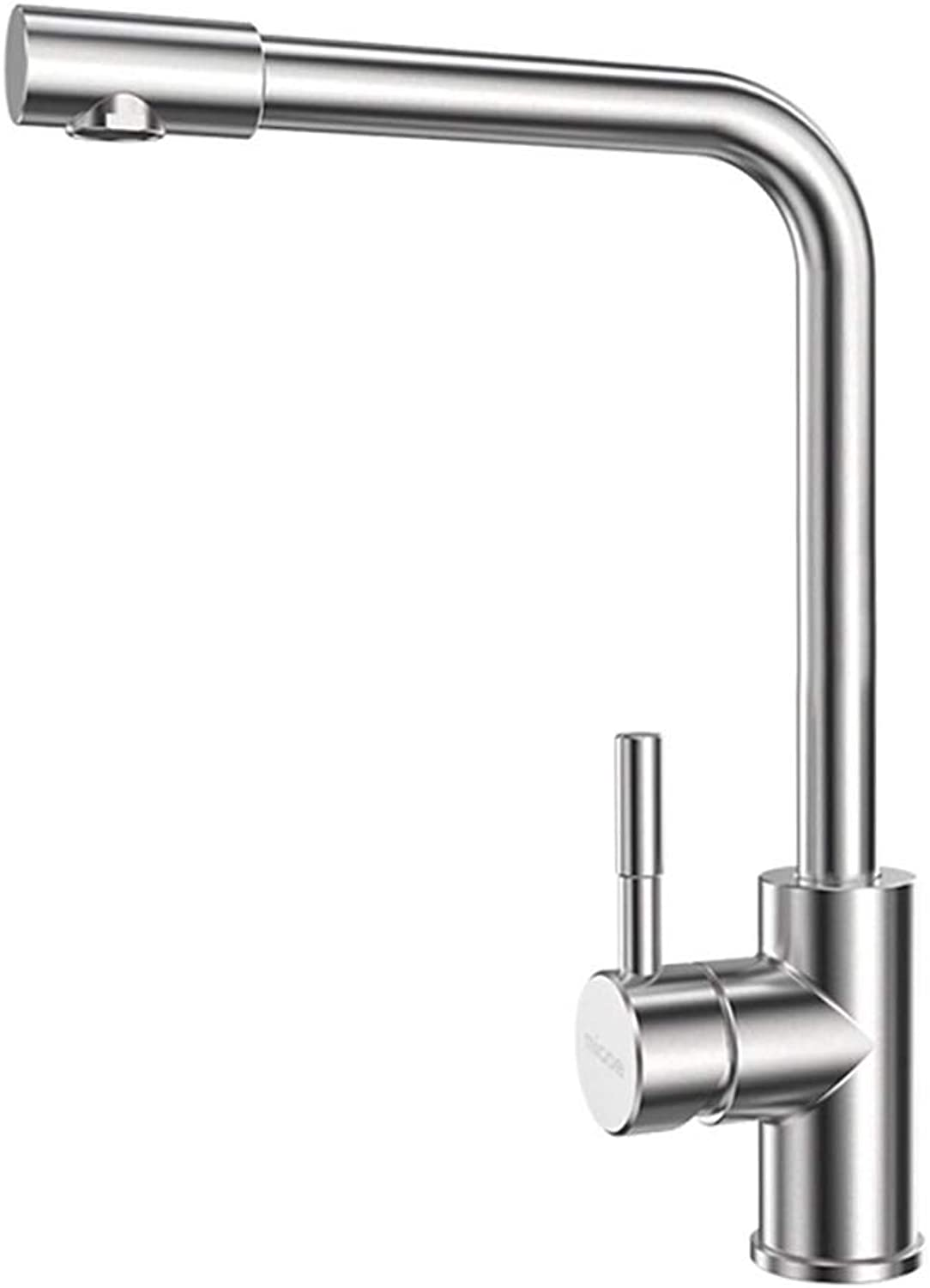 WYRSXPY Basin Tap Faucet Brushed Stainless Steel Kitchen Hot And Cold Water Tap 360° redating Sink Faucet (color   Silver)