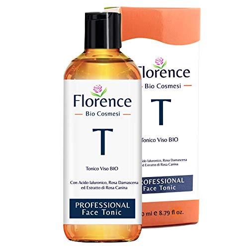 Tónico facial BIO Florence con ácido hialurónico con propiedades calmantes, hidratantes y revitalizantes. Con Agua de Rosa Damasco Orgánica - para Cara, Cuello- 250 ML