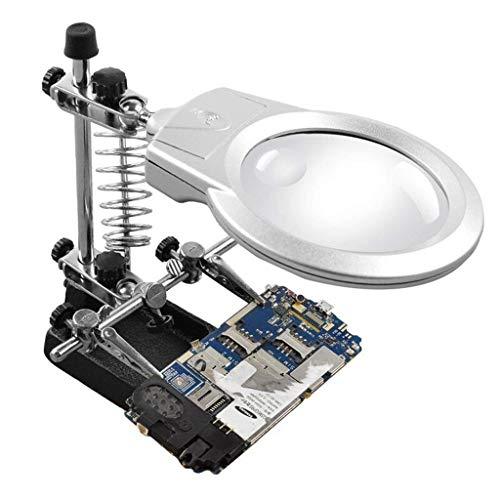 Lupa, con lámpara de Mesa de Luces LED Vidrio 170 * 110 * 70 mm Adecuado para Leer, Lupa de joyería, WA