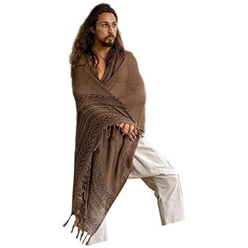 BREEZE bruin handgeweven katoenen sjaal sarong dreads haarband natuurlijk geverfd wrap blok gedrukt ademend Festival Gypsy Tribal Savage AJJAYA