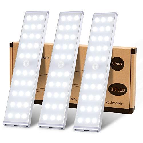 センサーライト 室内 人感センサー クローゼットライト、KSQ 30 LED超高輝度キッチンライト、フルスクリーンイルミネーションと充電式キャビネットLEDライト、キッチンワードローブ用のアンダーキャビネットライト寝室の階段廊下-3パックLEDバーライト