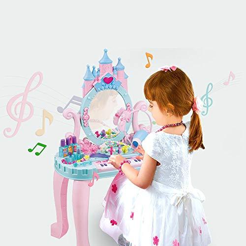 Ryyland-Home Schminktische für Kinder Mädchen Traum Dresser Kinder Electronic Piano Toy Geburtstags-Geschenk for Kinder Dresser Spielzeug (Color : Pink, Size : 74X44X28CM)