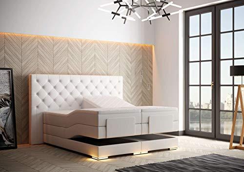 HG Royal Estates GmbH Mailand Designer Chesterfield Boxspringbett elektrisch inkl. LED-Beleuchtung, Visco Topper, 7-Zonen Taschenfederkern, H3, Weiß Kunstleder Größe 180 x 200 cm