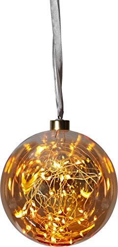 "Best Season 457-76""Glow"" Glaskugel mit 40 LED, Durchmesser circa 15 cm, warmweiß/amber, 1.5 x 1.5 x 1.6 cm"