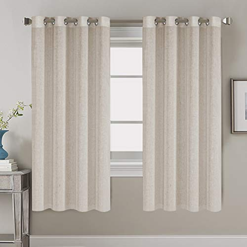 "H.VERSAILTEX Elegant Natural Linen Blended Energy Efficient Light Filtering Linen Textured Curtains/Nickel Grommet Window Treatments Panels/Drapes (Set of 2, Natural, 52"" x 45"")"