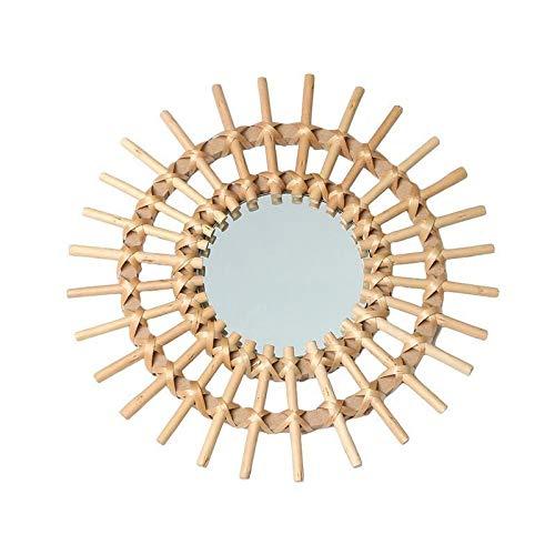 Ybqy decoratieve spiegels rotan innovatieve kunst decoratie ronde make-up spiegel dressing badkamer muur opknoping spiegel