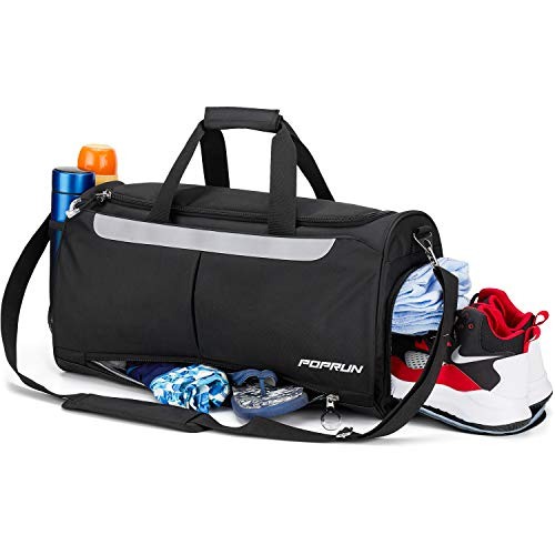 POPRUN Sports Gym Bag, Workout Duffel Bag with Shoes Compartment & Wet Pocket for Men and Women – Durable Water Resistant, 21″