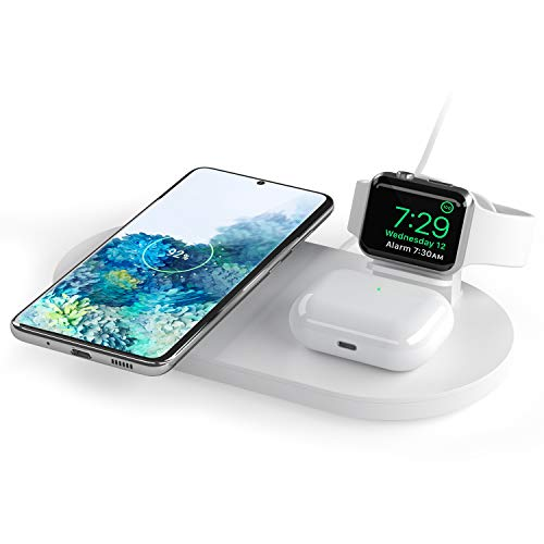 Seacosmo Caricatore Wireless 3 in 1 per Apple Watch 5/4/3/2/1, Qi Supporto di Ricarica Wireless Docking Station per AirPods Samsung Buds, iPhone SE 2020/11/XR/X/8, Samsung Galaxy e telefoni qi, Bianco