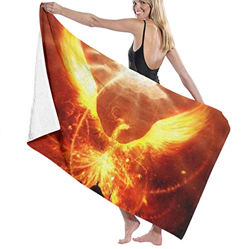 PengMing Flame Fire Phoenix Universe Soft and Super Absorbent Bath Towel, Suitable for Hotel, Swimming Pool, Gym, Beach-32in X 52in