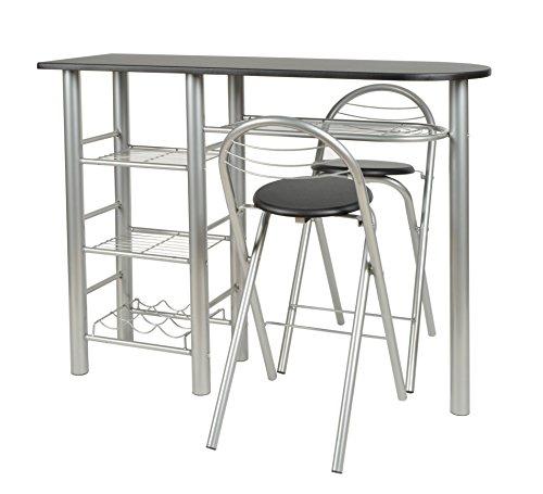 Kit de 3piezas, mesa y 2taburetes para la cocina o comedor en aluminio y superficie de la mesa negra, de la marca Ts ideen