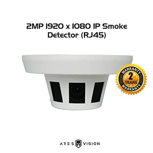 Ares Vision 2MP IP Updated with POE (Power Over Ethernet) Network Hidden Covert Smoke Detector CCTV Camera RJ45 Connection (2MP IP with POE)