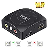 Easycel Upgraded Version RCA Composite CVBS AV to HDMI Video Audio Converter, Supports 720P/1080P Output Switch scaler Converter for PS2 N64 Wii TV STB VHS VCR Camera DVD, Black