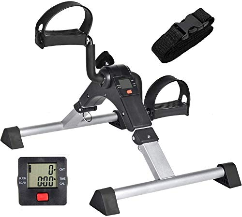 ACTIONCLUB Digital Folding Pedal Exerciser - Fitness Mini Arm Bikes, Under Desk Exerciser with Electronic Display, Leg Physical Therapy Machine (Silver)