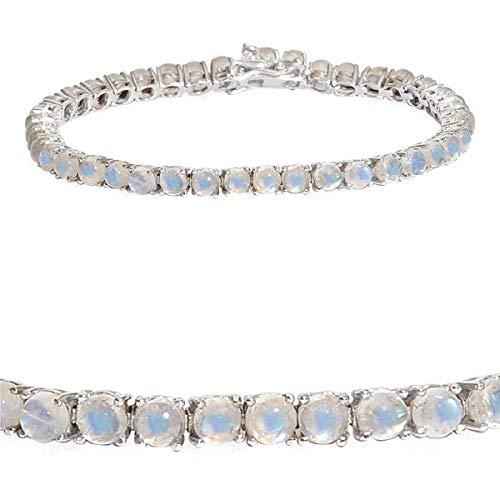 Platinum Plated 10.5 Cts Moonstone Gemstone 925 Sterling Silver Women Tennis Bracelet
