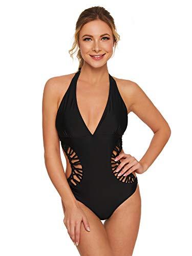 DIDK Damen Badeanzug Neckholder Einteiler Bademode Schwimmanzug Cutout Taille Badeanzüge One Piece Swimsuit Schwarz M
