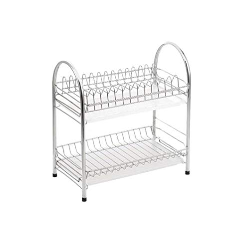 2-Tier Dish Drainer, Dish Drying Rack with Drip Tray Stainless Steel Kitchen Cutlery Holder 40.022.542.0cm