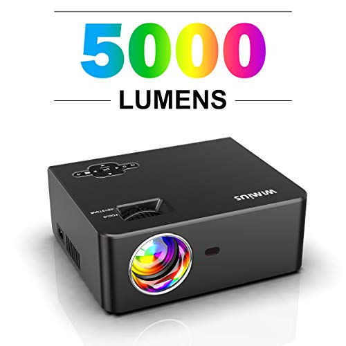 Videoproiettore, WiMiUS 5000 Lumen Mini Proiettore Portatile Nativa 1280 * 720P Full HD LED Suppoto 1080P Home Theater proiettore Con 200 '' Displa con TV / PS4 / PC / AV / VGA / USB / HDMI