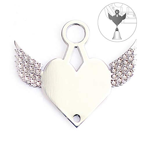 Sparkle Rider Motorcycle Bell Hanger Mount Winged Heart with Swarovski Crystals