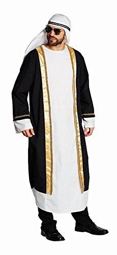 Rubie's 14907-XXL Kostüm Araber Tunika schwarz-weiß Größe XXL, Turban Scheich Sultan Ölscheich Tuareg Beduine (XX-Large), Multi-Colored