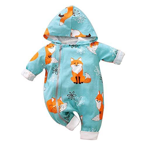 Borlai - Mono de manga larga para bebé, mono para recién nacidos, para niñas, con capucha, para 0-24 meses