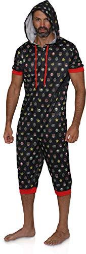 Nintendo Men's Super Mario Power Ups Cropped Leg One Piece Pajama (Small/Medium) Black