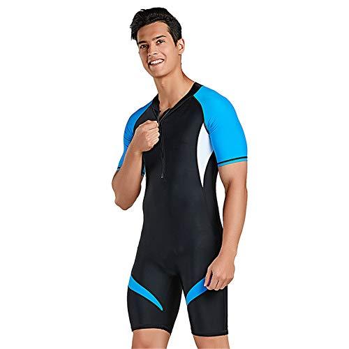 XDXART Einteiliger Badeanzug für Damen und Herren Kurzarm-Badebekleidung für Paare mit kurzen Ärmeln Surfanzug für Sonnenschutz (Blue, 2XL)
