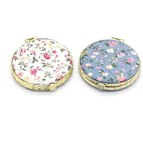 LXCDCH 2 Pcs Pocket Spiegel für Damen für Mädchen Retro Taschenspiegel Runder Kleiner Schmink Spiegel Doppelseitiger Spiegel Faltbarer Schmink Spiegel Blaues Keramik Traditionelle Chinesische Design
